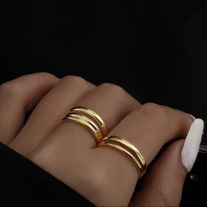 Gold Plated Double Band Stackable Ring